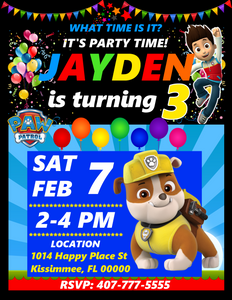 Rubble Paw Patrol Birthday Party Invitations, Rubble Paw Patrol, Custom Birthday Invitations, Free envelopes