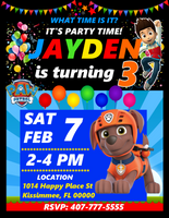 Zuma Paw Patrol Birthday Party Invitations, Zuma Paw Patrol, Custom Birthday Invitations, Free envelopes
