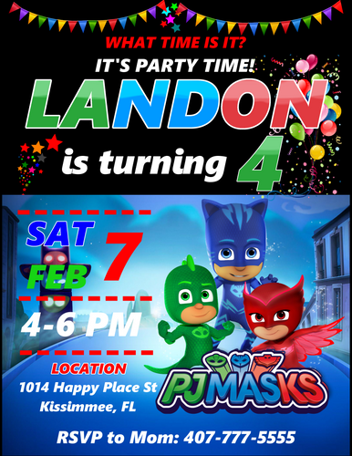 PJ Masks Birthday Party Invitations, PJ Masks Invitations, Custom Birthday Invitations, Free envelopes