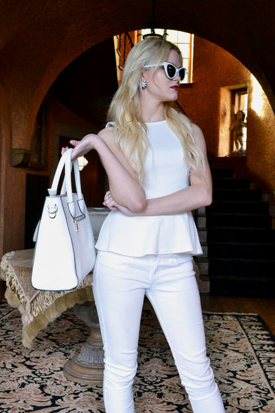White Boutique Textured Satchel