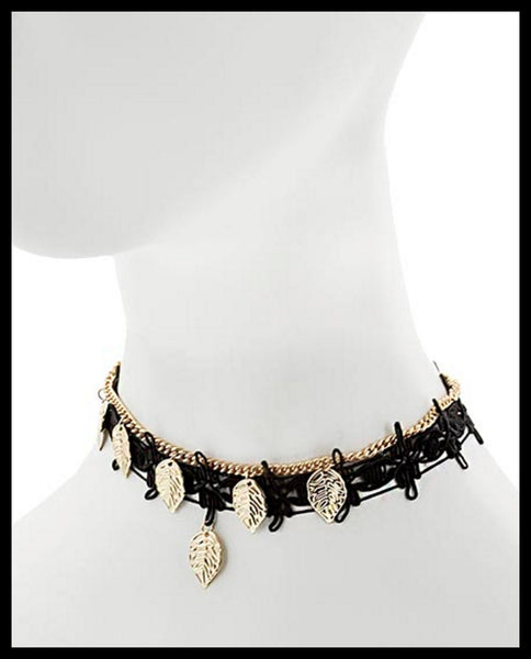 Black/Gold Leaf Choker Necklace
