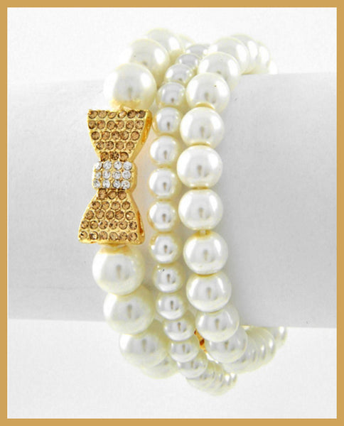 Three Row Pearl/Rhinestone Bracelet