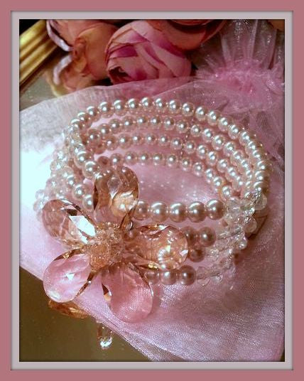 Four Row Pearl Flower Bracelet