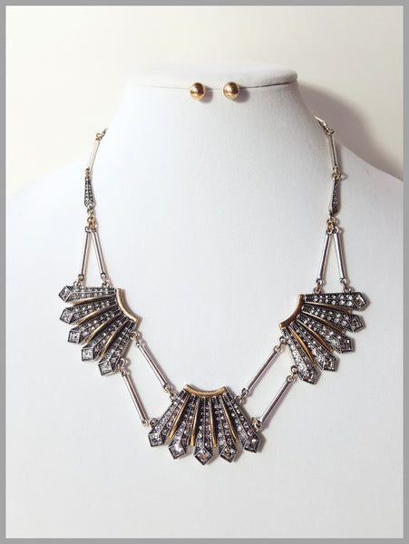 Art Deco Rhinestone Necklace & Earring Set