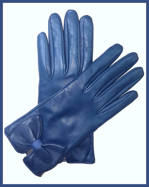 Blue Moschino Bow Gloves