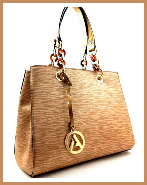Bronze Textured Patent Chain Handle Tote