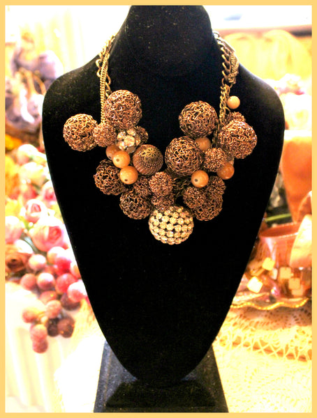 Brown Mesh Ball, Rhinestone & Bead Necklace & Earring Set
