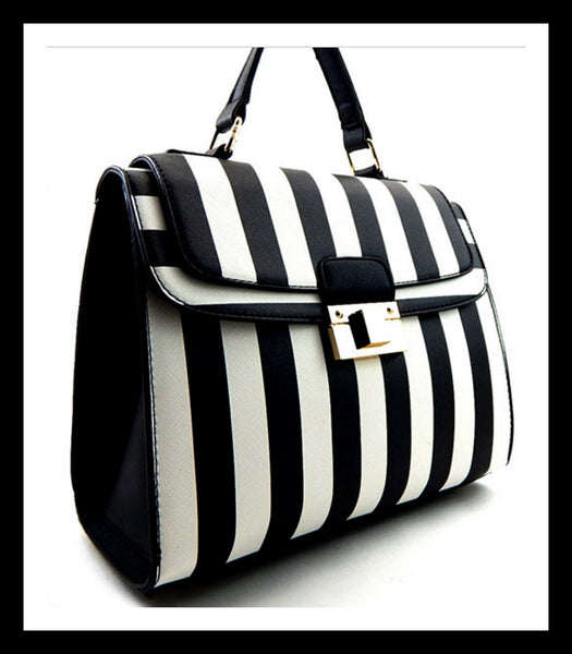 Black Stripe Print Flap Top Push Satchel
