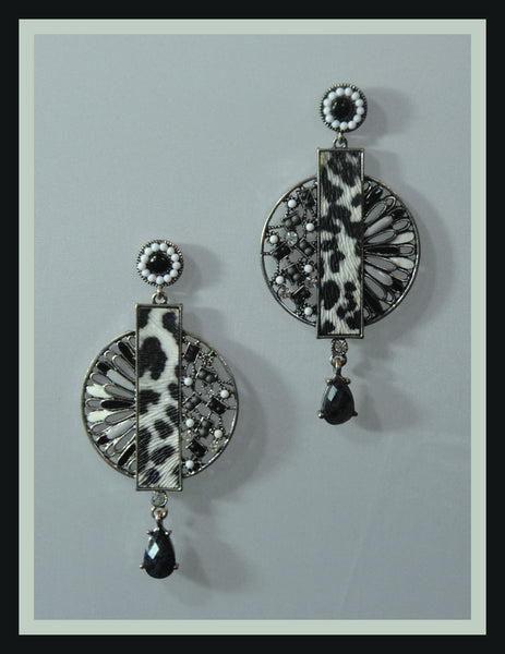 Black & White Leopard Earrings