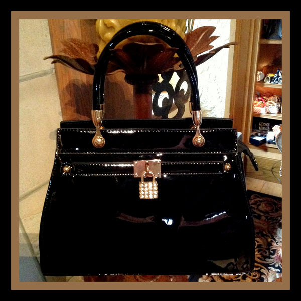 Black Patent Handbag with Rhinestone Lock