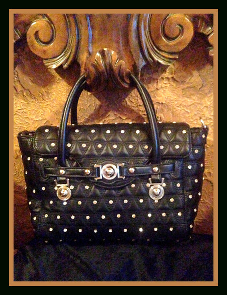 Black Quilted Handbag with Rhinestones