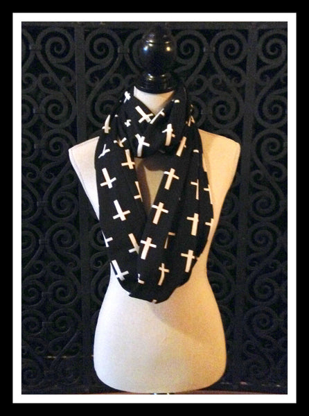 Black Infinity Cross Scarf