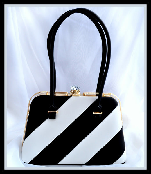 Black Striped Handbag