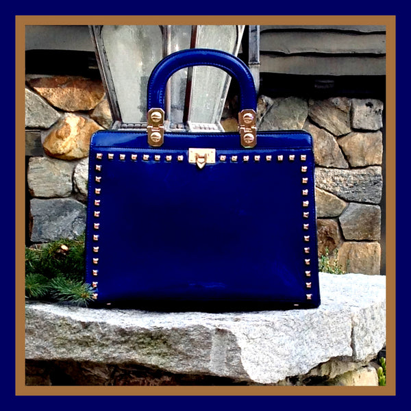 Blue Patent Studded Tote