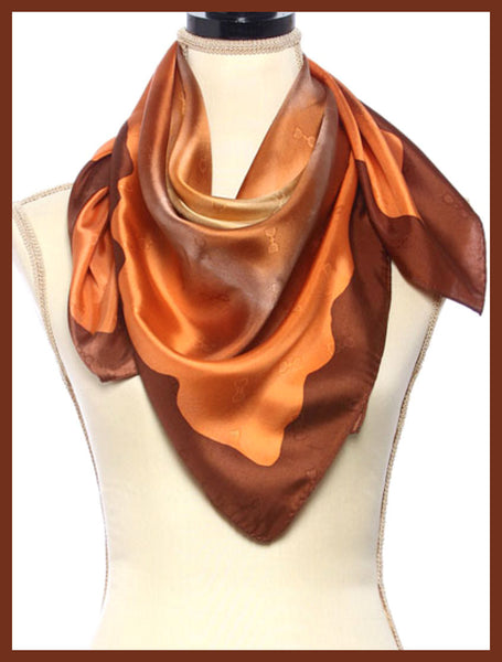 Brown Origami Print Silk Scarf