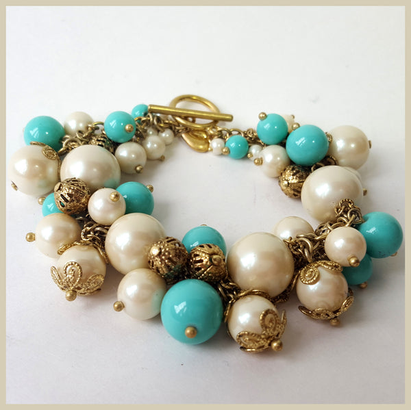 Pearl & Turquoise Glass Beaded Bracelet