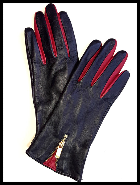 Ralph Lauren Black/Red Contrast Leather Gloves