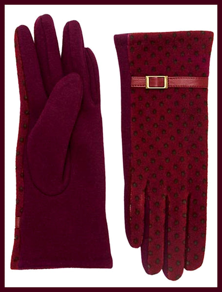 Burgundy Dot Gloves