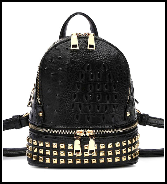 Gold Studded Crocodile Backpack