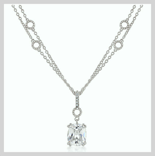 Cubic Zirconia Pendant on Double Chain