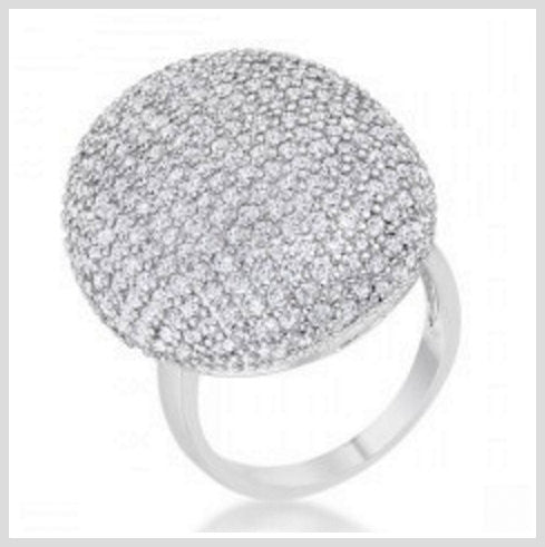 Cubic Zirconia Rhodium Round Statement Cocktail Ring