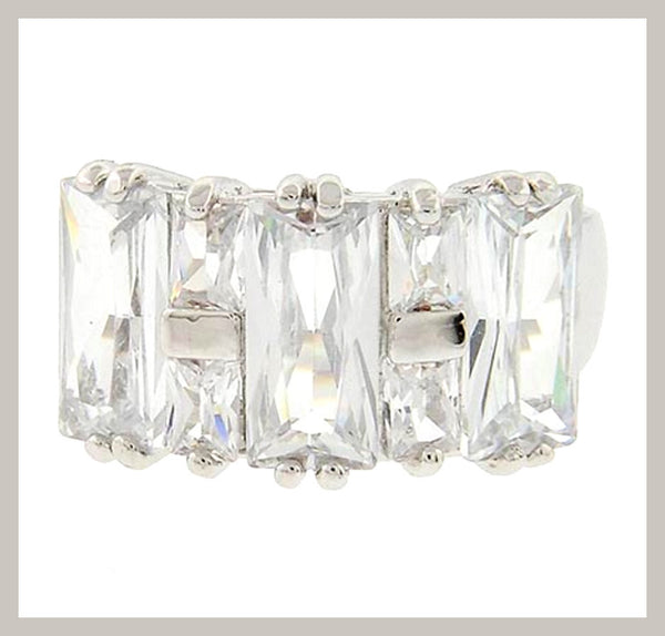 Rhodiumized Cubic Zirconia Ring