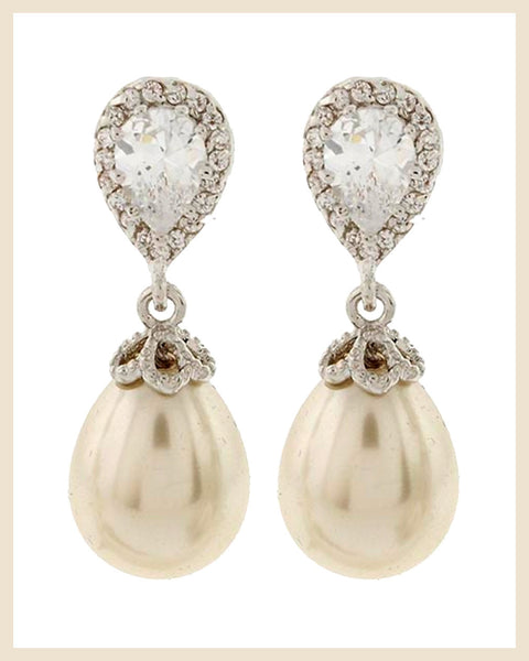 Cubic Zirconia & Pearl Earrings