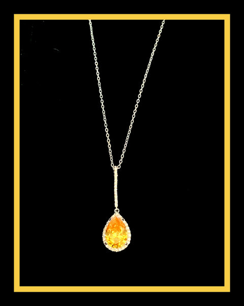 Canary Teardrop CZ Necklace