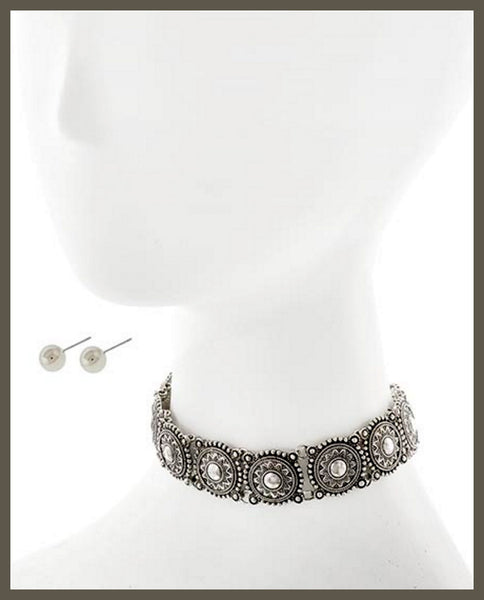 Silver Choker Style Necklace & Earring Set