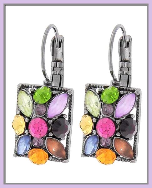 Multi-Color Acrylic & Rhinestone Earrings