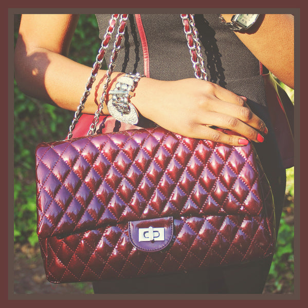 Cranberry Quilted Handbag