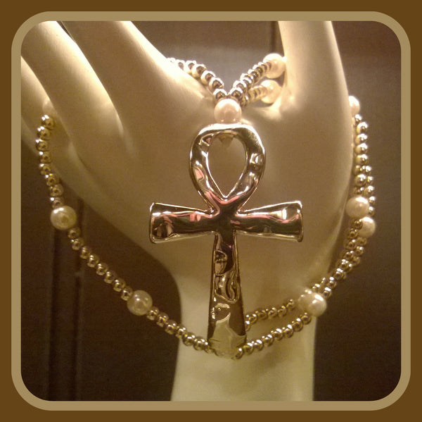 Gold Bead Cross Bracelet