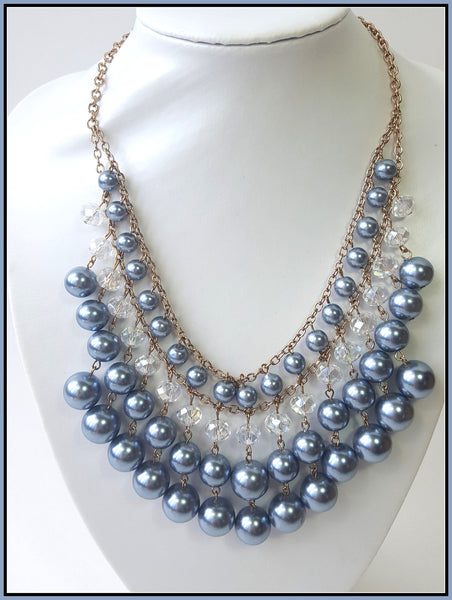 Grey Pearl & Crystal Necklace