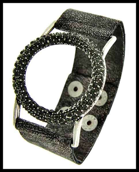 Burnished Silver, Black Diamond Rhinestone, Band Bracelet