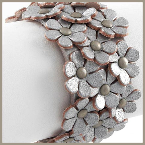 Silver Leather Flower Bracelet