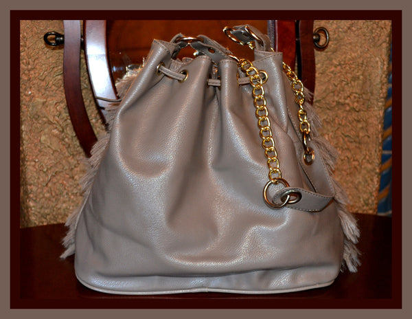 Grey Furry Handbag