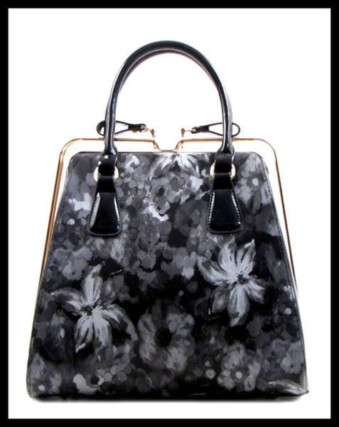 Grey Floral Rail Handbag