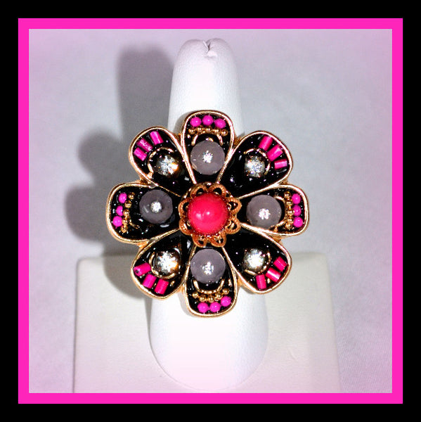 Fuschia, Black & Grey Stretch Ring