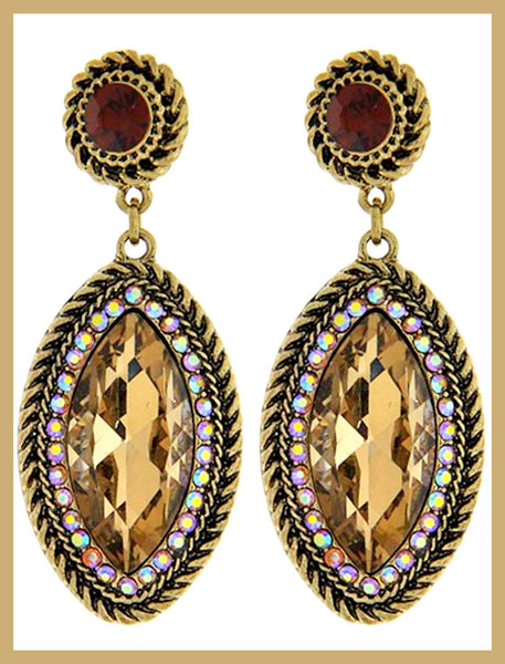 Brown & Gold Crystal/Rhinestone Earrings