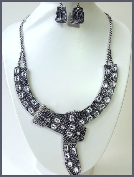 Gunmetal, Belt Style Necklace & Earring Set