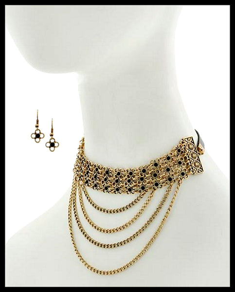 Burnished Gold, Flower Choker Style Necklace & Earring Set