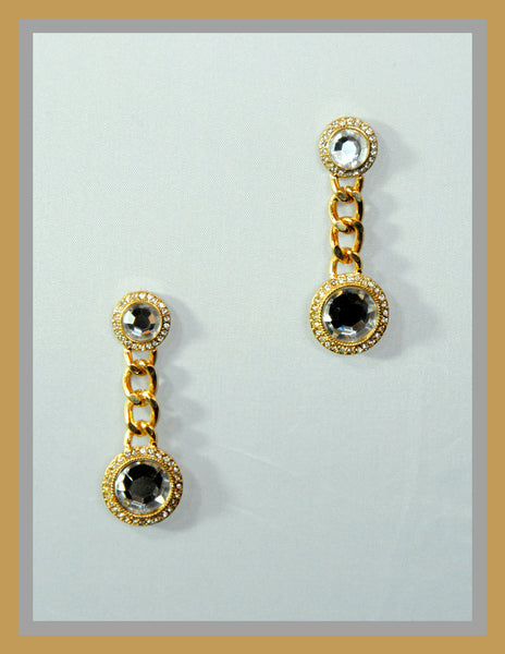 Gold Chain Crystal Earrings