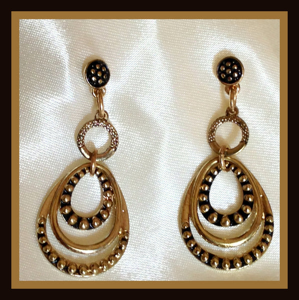 Gold Orbital Drop Earrings
