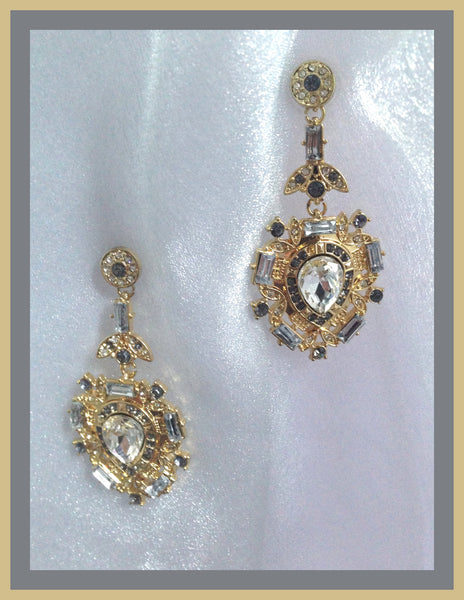 Gold & Crystal Drop Front Earrings