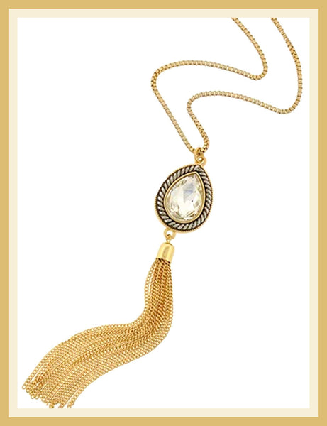 Gold & Silver Clear Glass Tassel Necklace
