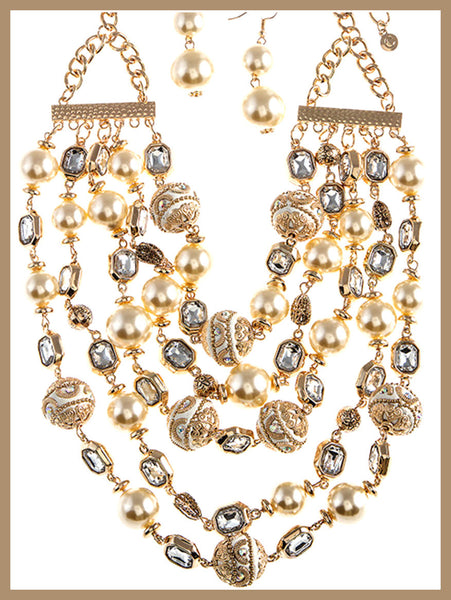 Multi-Strand, Ivory & Gold Necklace & Earring Set
