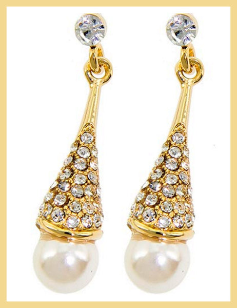 Gold Pearl & Rhinestone Earrings