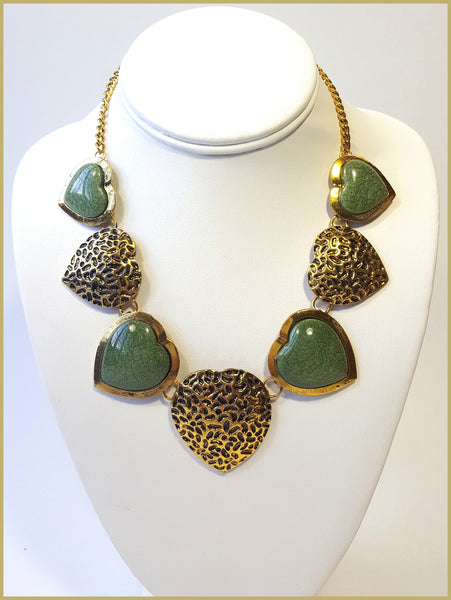 Green & Gold Heart Necklace