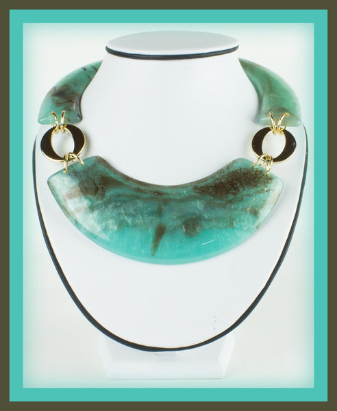 Green/Brown Acrylic Marble Necklace