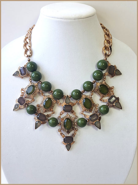 Green Acrylic & Rhinestone Necklace